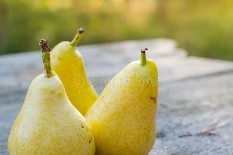 Nya tre och saftiga päron på trätabellen, DOF arkivbilder