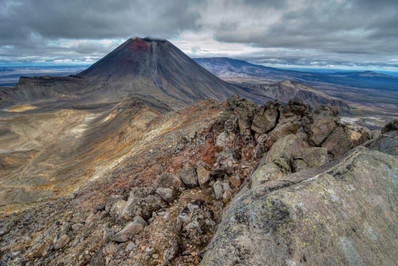 Nya Zeeland: Mt Ngauruhoe, den Tongariro nationalparken är Mordor royaltyfri bild
