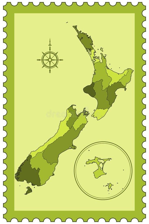 Nya Zeeland på stämpel vektor illustrationer