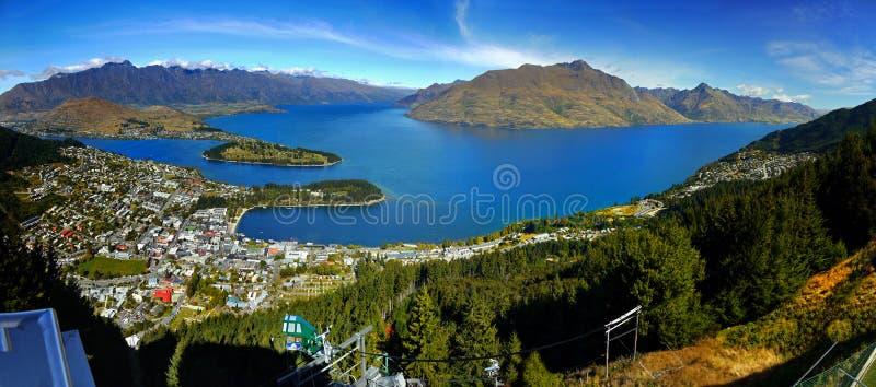 Nya Zeeland Queenstown, panorama royaltyfri fotografi