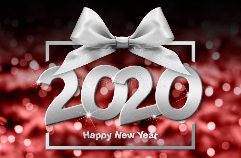 2020 - nyare årsnummertext i rutor med silverfälgbåge isolerat på röd, suddig bakgrund stock illustrationer