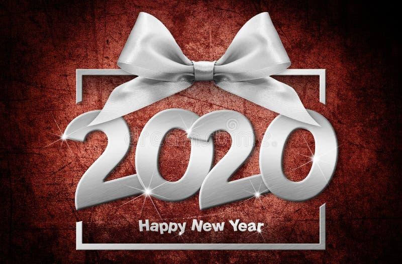 2020 - nyare årsnummertext i rutor med silverfärgat band isolerat på röd, glänsande bakgrund stock illustrationer