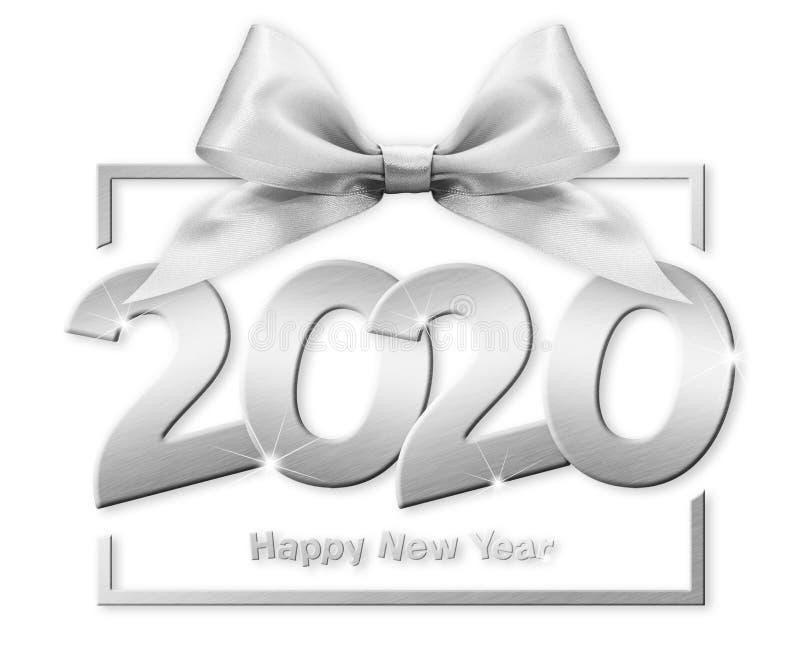 2020 - nyare årsnummertext i rutor med silverfärgat band isolerat på vit bakgrund stock illustrationer