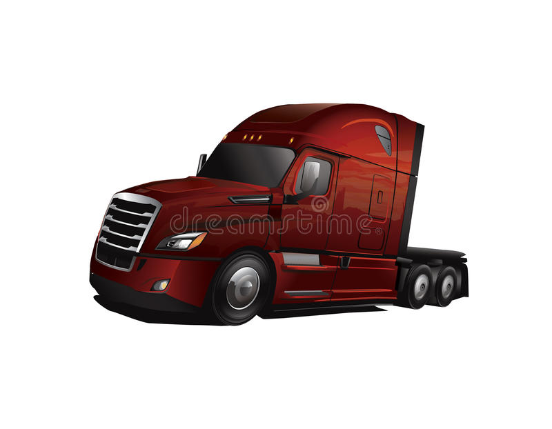 Nyare modell Semi Truck Cab royaltyfri illustrationer
