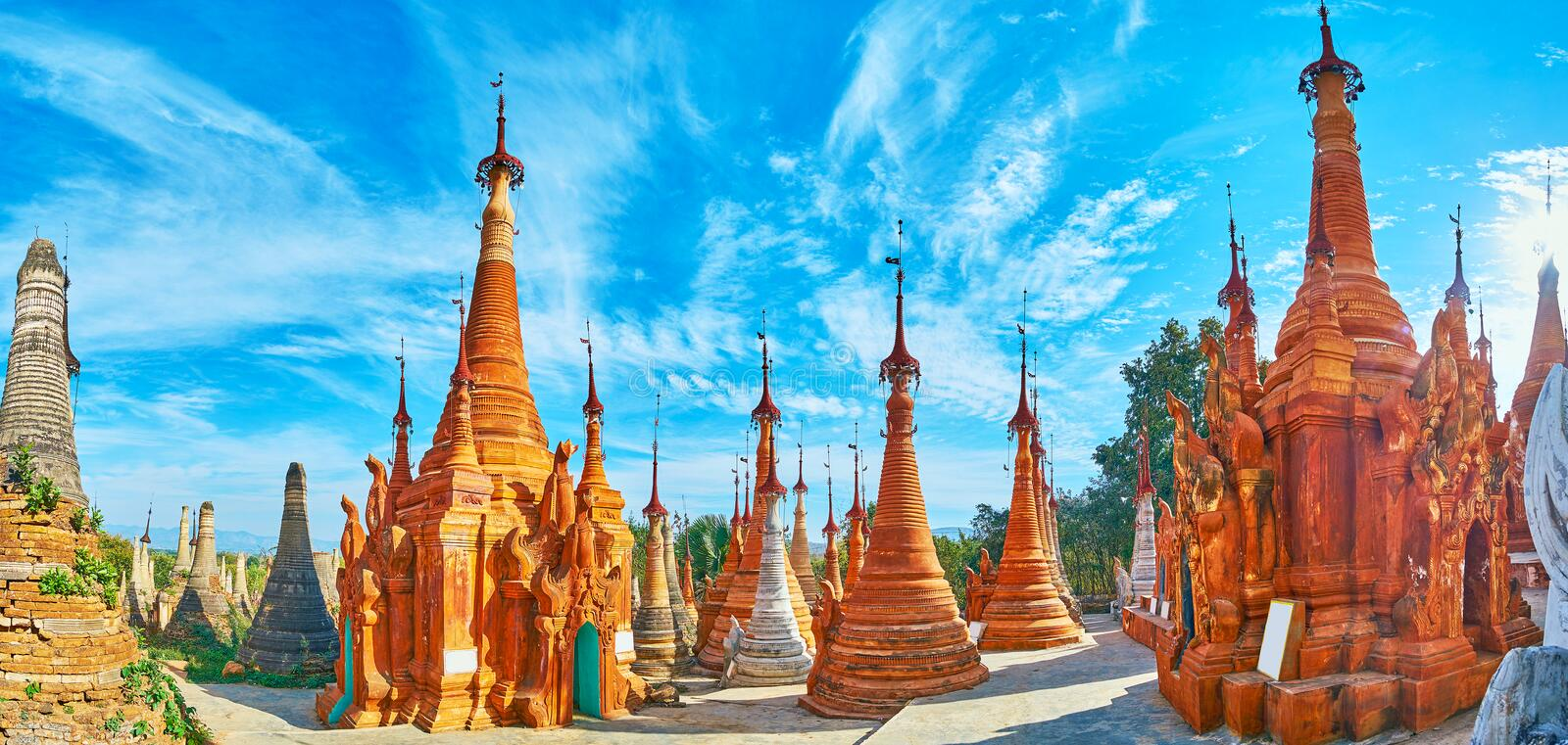Among the ochre stupas of Nyaung Ohak, Indein, Inle Lake, Myanmar. Nyaung Ohak archaeological site is the unique place on Inle Lake with outstanding ancient royalty free stock images