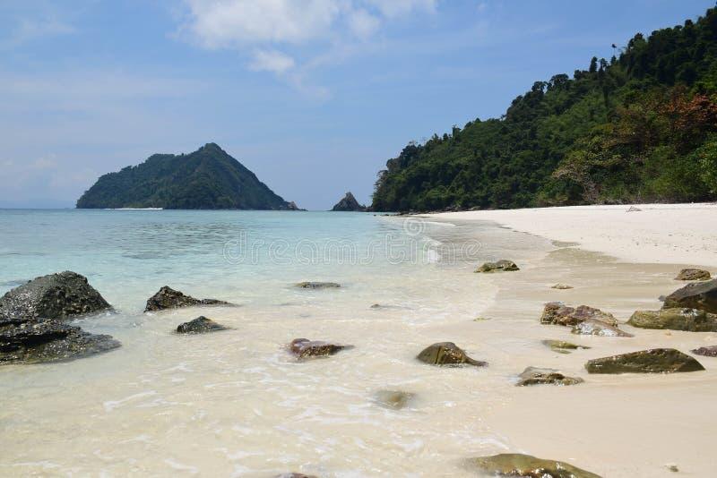 Nyaung Oo Phee lsland with white sandy beach. Myanmar (Burma) tr royalty free stock photo