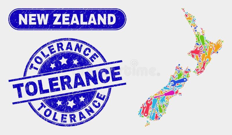 Nyazeeländsk översikt för enhet och skrapade toleransstämpelskyddsremsor royaltyfri illustrationer