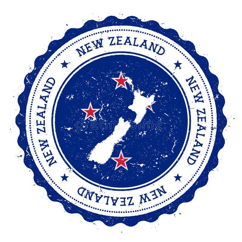 Nyazeeländsk översikt och flagga i den rubber stämpeln för tappning royaltyfri illustrationer