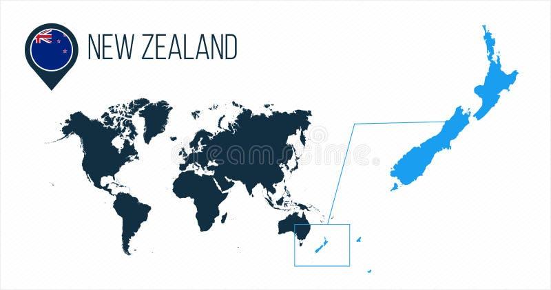 Nyazeeländsk översikt som lokaliseras på en världskarta med flaggan och översiktspekare eller stift Infographic översikt Vektoril royaltyfri illustrationer