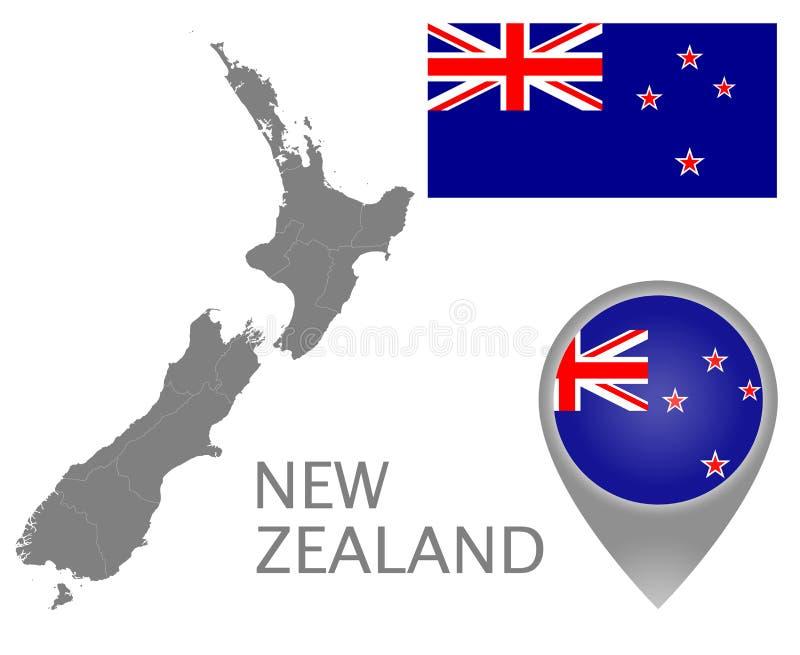 Nyazeeländsk flagga, översiktspekare och översikt med de administrativa uppdelningarna vektor illustrationer