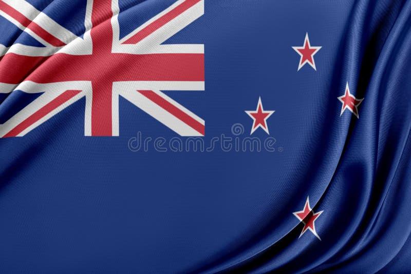 Nyazeeländsk flagga med en glansig siden- textur royaltyfri illustrationer