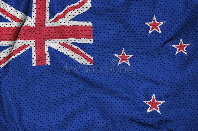 Nyazeeländsk flagga som skrivs ut på en fa för ingrepp för polyesternylonsportswear arkivfoto