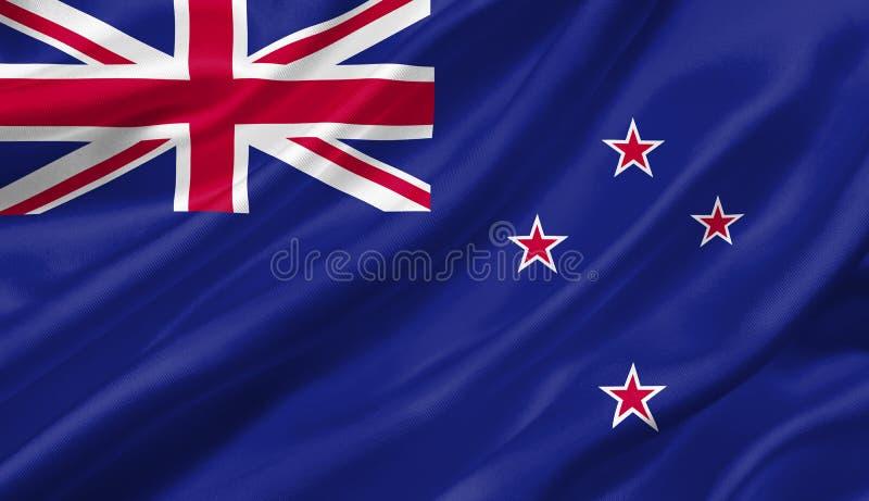 Nyazeeländsk flagga som vinkar med vinden, illustration 3D vektor illustrationer