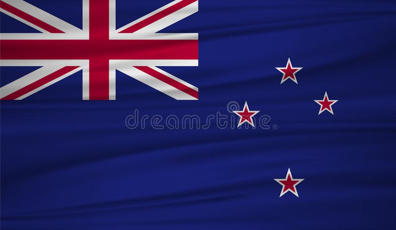Nyazeeländsk flaggavektor Vektorflagga av nyazeeländsk blowig i vinden vektor illustrationer