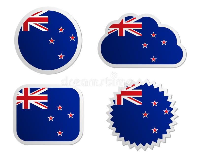 Nyazeeländska flaggaetiketter vektor illustrationer