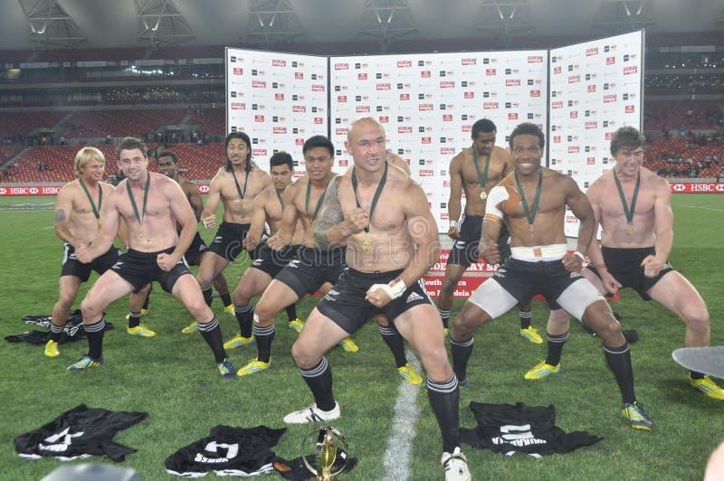 Nyazeeländska Spelare Haka fotografering för bildbyråer