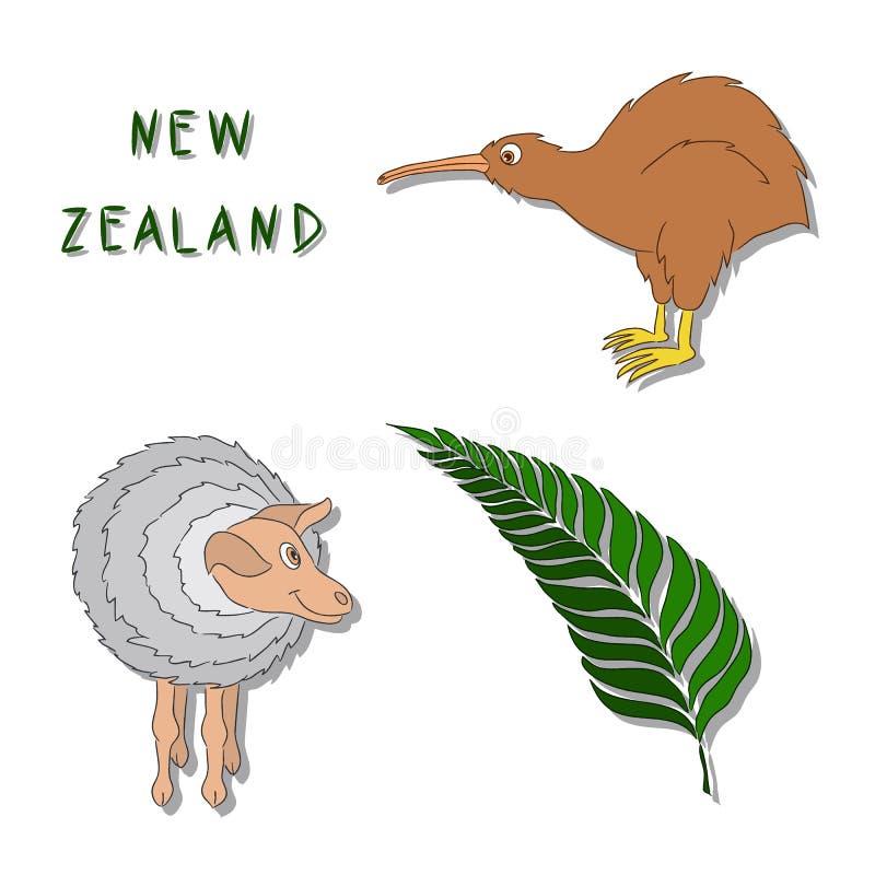 Nyazeeländska symboler Uppsättningen av tecknade filmen färgade symbolskiwifågeln, ett får, en silverormbunkefilial Vektorillustr royaltyfri bild