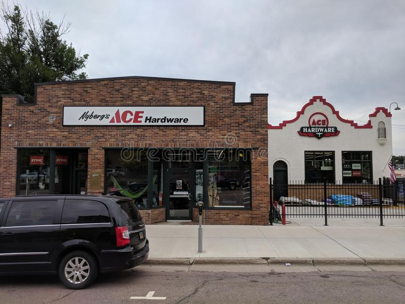 Nyberg's Ace Hardware, Downtown Sioux Falls, SD. Nyberg's is the local hardware store in downtown Sioux Falls, South Dakota, on First Ave stock images
