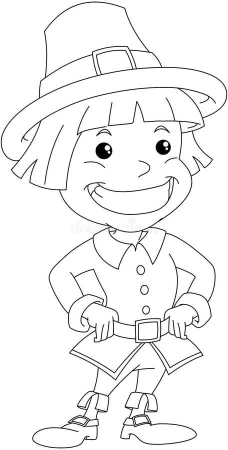 Nybyggarepojke för tacksägelsefärgläggningsida royaltyfri illustrationer