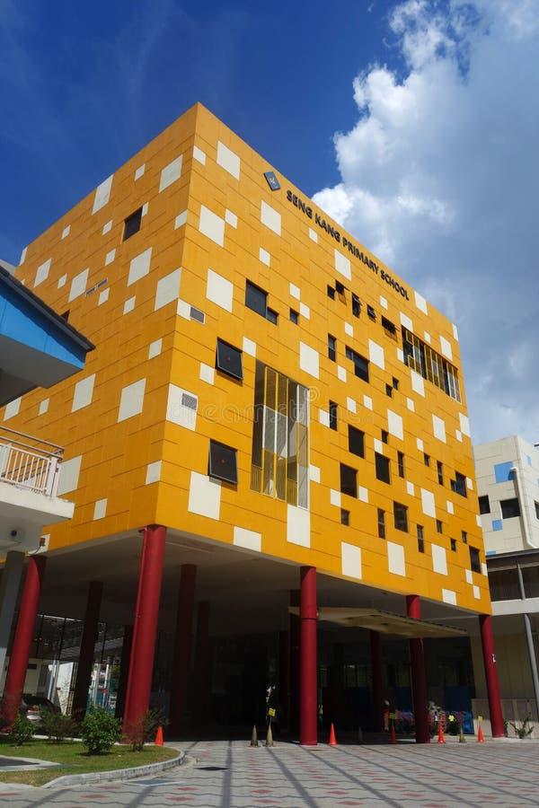 Nybygge av den Sengkang grundskola för barn mellan 5 och 11 år arkivfoto