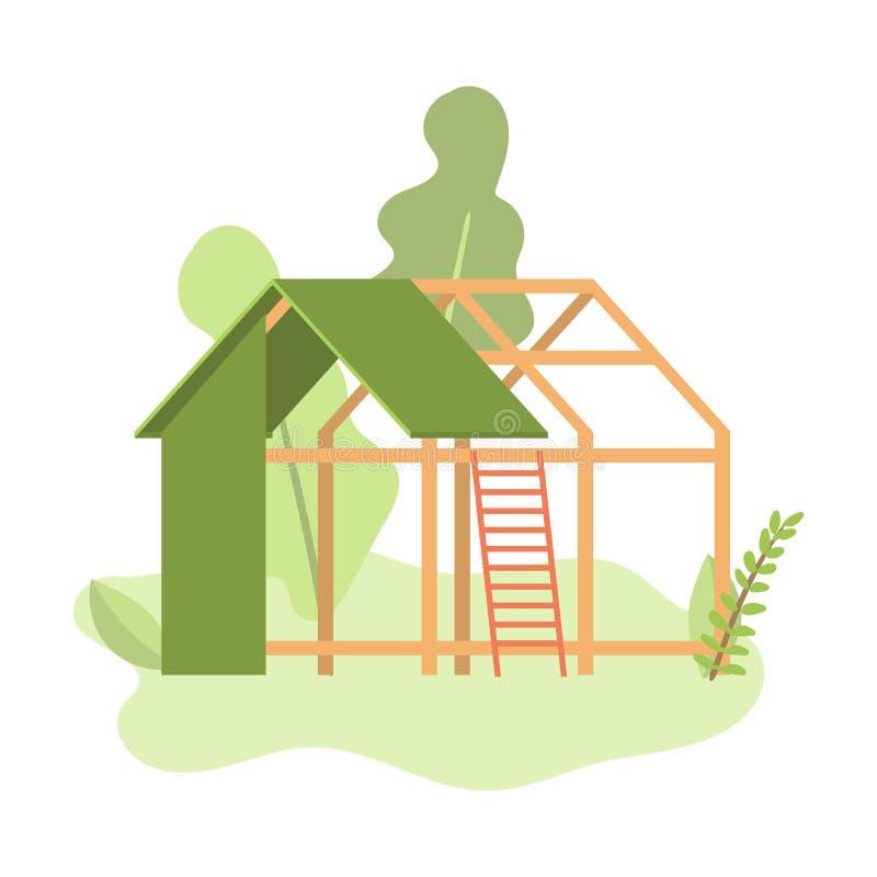 Nybyggnad av det lilla huset för grön träpanel vektor illustrationer