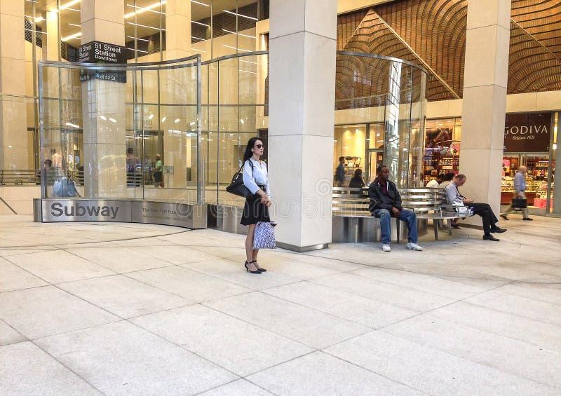 NYC地铁入口广场 免版税库存图片