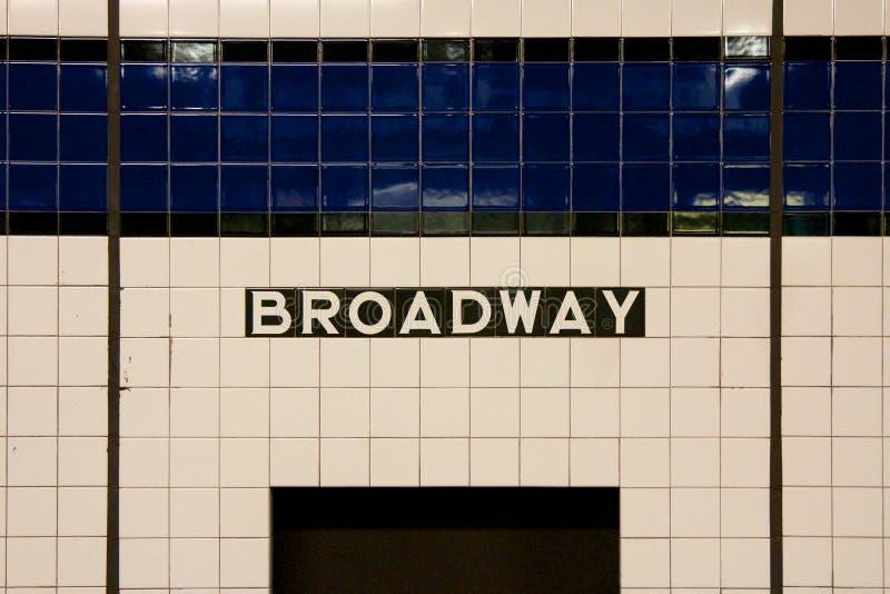 NYC百老汇地铁标志 免版税库存图片