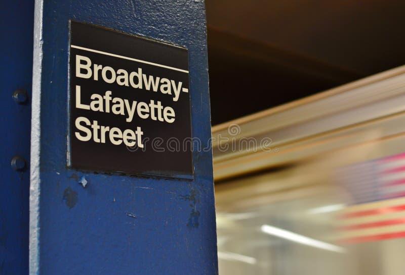 NYC百老汇拉斐特地铁地下地铁站乐团纽约苏活区时髦区 图库摄影