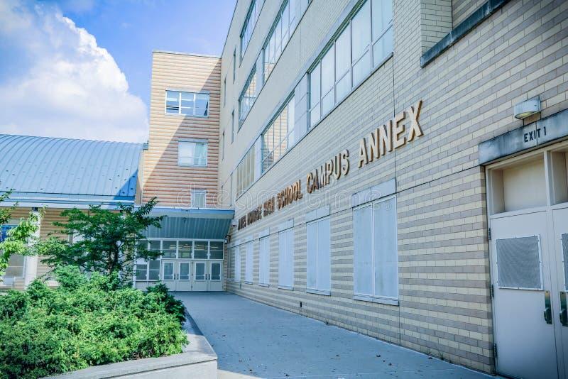 NYC的布朗克斯高中 库存图片