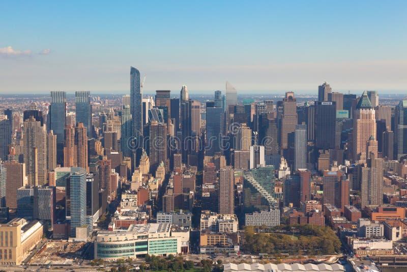 NYC的NY纽约曼哈顿下城在美国 空中直升机视图 免版税库存照片