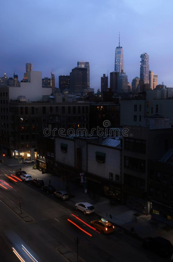 NYC都市风景自由塔地平线下东城曼哈顿视图  库存照片