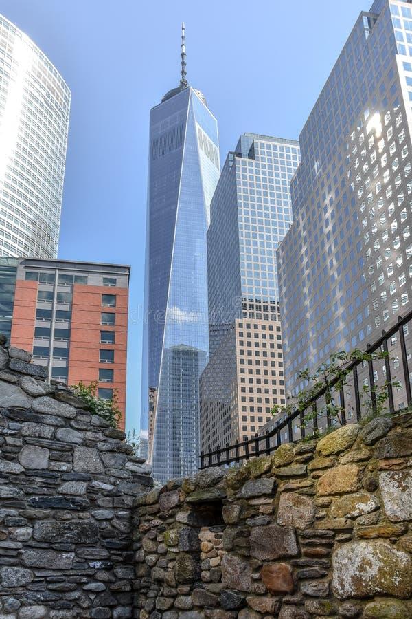 NYC,美国对比在香港世界贸易中心的 库存图片