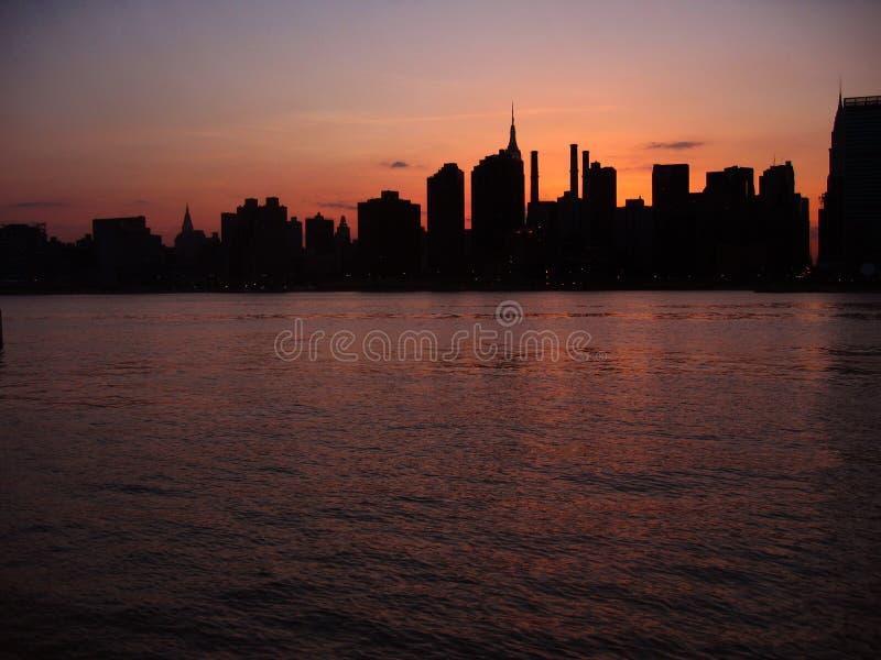 nyc ηλιοβασίλεμα στοκ φωτογραφίες
