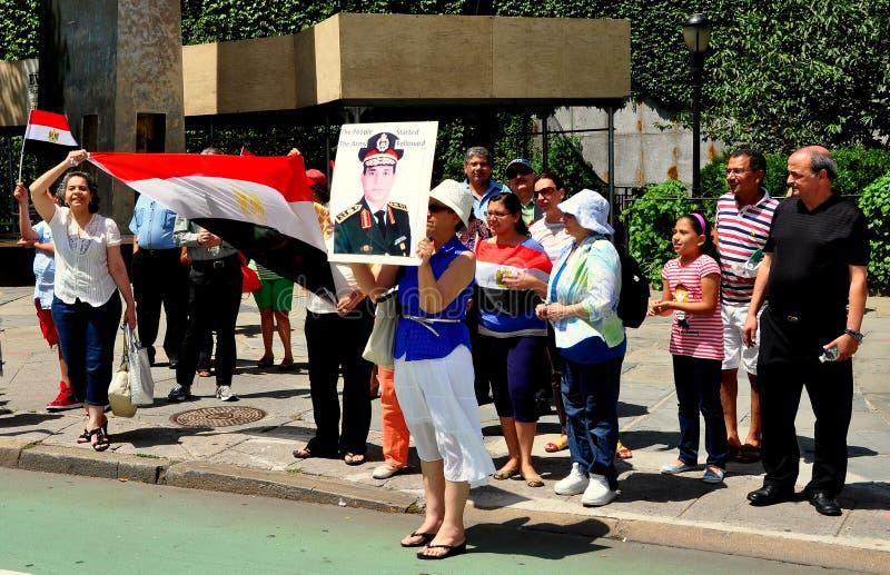 NYC; Египетские протестующие на Организации Объединенных Наций стоковое изображение