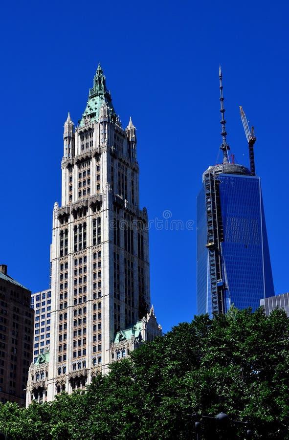 NYC :伍尔沃思修造的&一世界贸易中心 免版税库存照片
