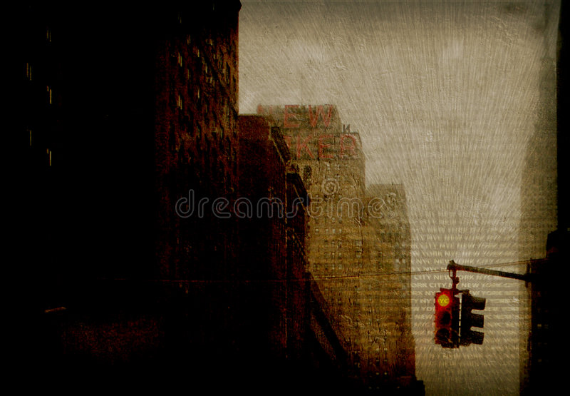 NYC. Traffic Light Abstract with text stock photography