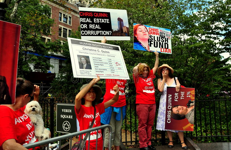 Download NYC: Anti-Christine Quinn Demonstrators At A Political Rally Editorial Stock Photo - Image: 33486638