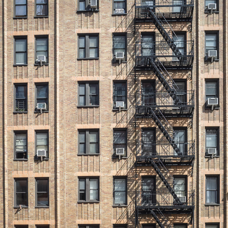 New York City Apartment Buildings: New York City, Old, Apartment Building Stock Photo