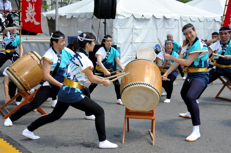 NYC: Asian American Festival Drummers stock photography