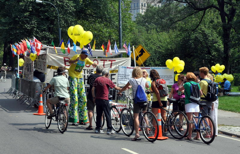 NYC: Bicyclists and Strikers in Central Park