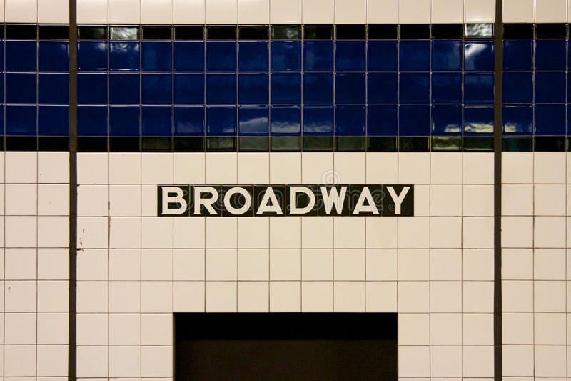 NYC Broadway Subway Sign. Sign at Broadway subway station in Manhattan, New York, NY, USA royalty free stock images