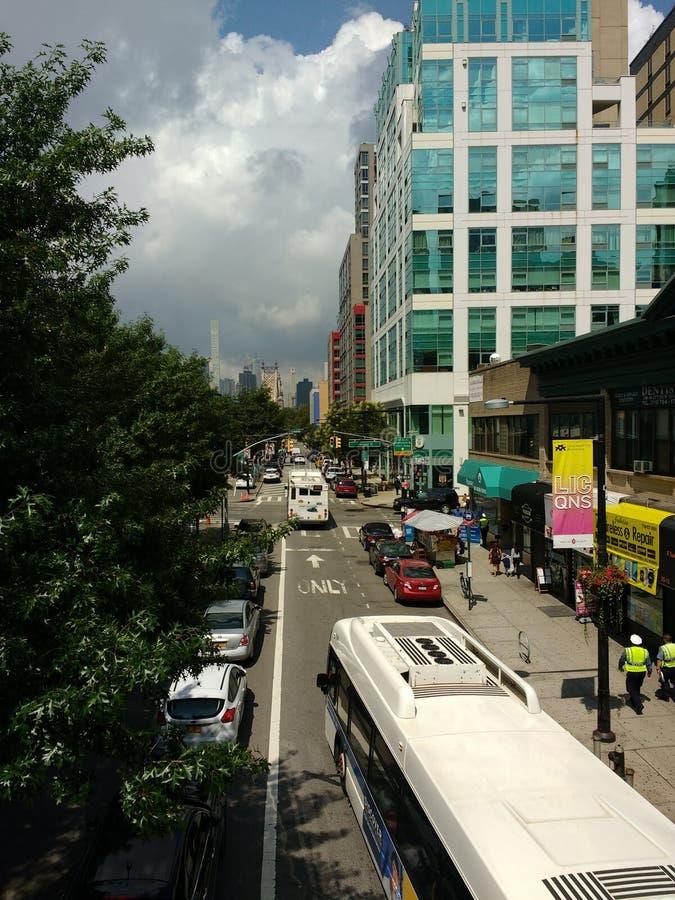 NYC-Bussen, Openbaar vervoer, Long Island-Stad, LIC, Queens, NY, de V.S. royalty-vrije stock afbeeldingen