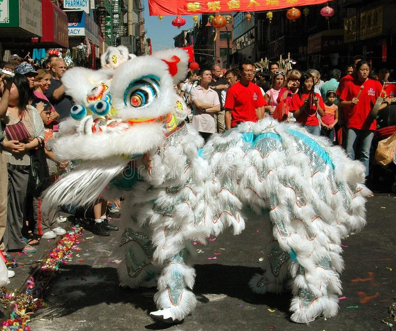 NYC: Chinatown Lion Dancer Editorial Stock Image