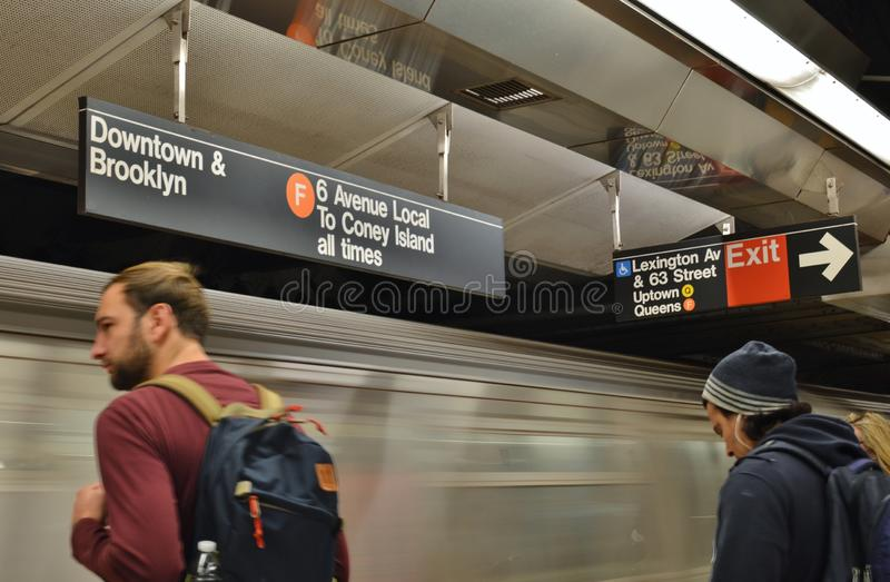 NYC Commuters Waiting for New York City MTA Subway on Train Station Platform Metro Transit royalty free stock image