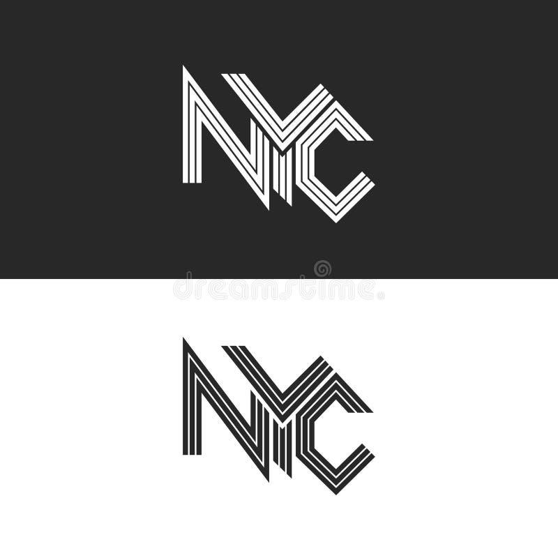 NYC, das Druckt-shirt, Hippie-Logomodell USA New York City, städtisches Kalligraphieschwarzweiss-gestaltungselement beschriftet lizenzfreie abbildung