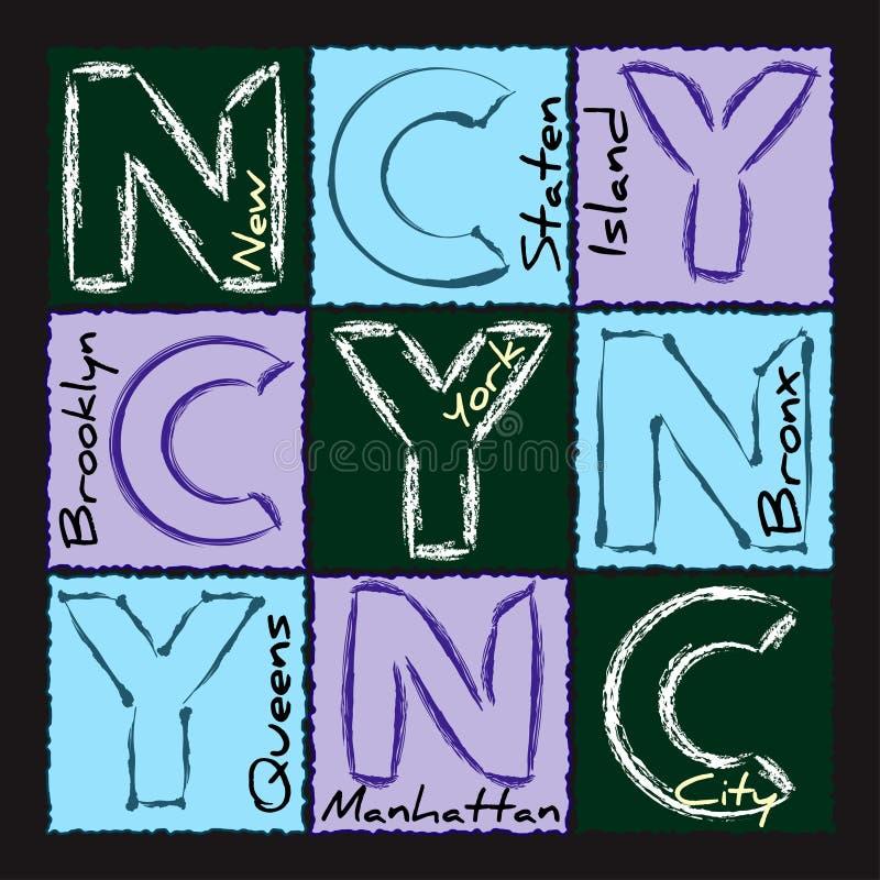 NYC druku projekta okręg 2 ilustracja wektor