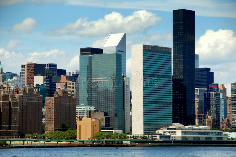 NYC: East Side Skyline and UN Building stock photography