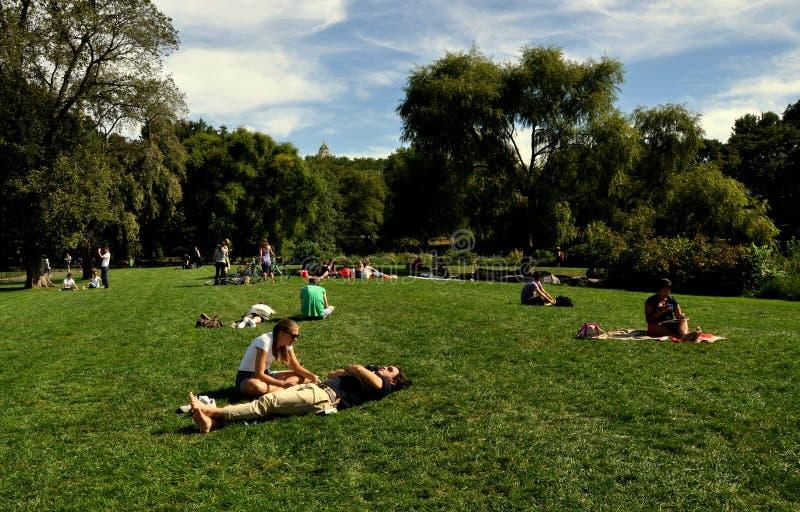 Download NYC: Ein Sonnenbad Nehmen In Central Park Redaktionelles Bild - Bild von sunbathing, sommer: 27732695