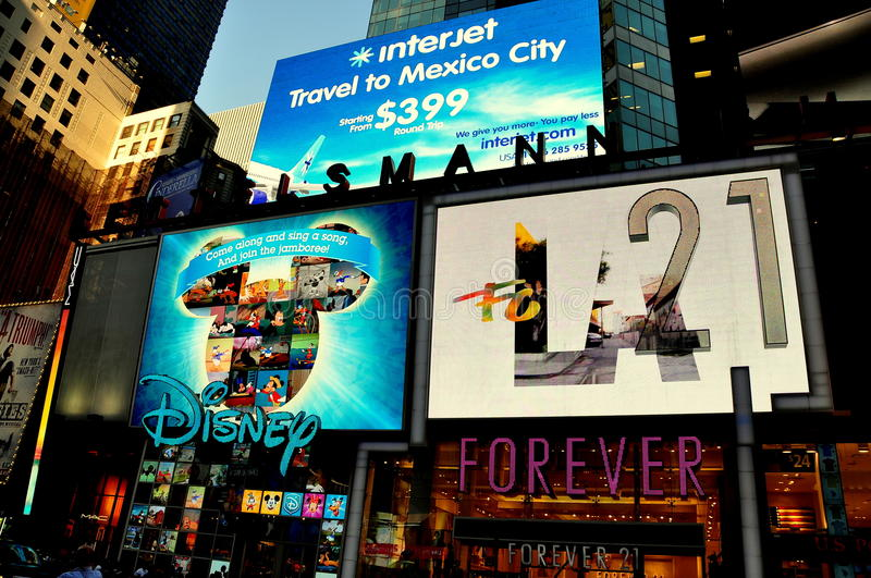 NYC: Electronic Billboards in Times Square stock photos