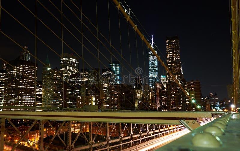 Nyc financiero del distrito en la noche fotografía de archivo